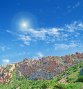 Shining over the hill sun a typical gallura Stock Photos