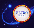 Shining retro frame with falling star. Night blue Royalty Free Stock Photo