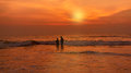 Shining sky at sunset natural abstract background morjim beach goa Royalty Free Stock Photos