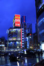 Shinjuku night scene tokyo busy streets of shopping district Royalty Free Stock Photo