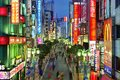 Shinjuku nightlife in december in tokyo jp the area is a famed nightlife and red light district Stock Image