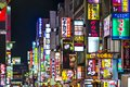 Shinjuku tokyo lights december billboards in s kabuki cho district december in jp the area is a nightlife district known as Stock Image