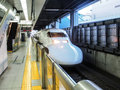 Shinkansen japan bullet train high speed at a station in tokyo Royalty Free Stock Image
