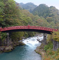 Shinkyo bridge nikko this distinctive red over the river daiya is something of a symbol for and is the oldest built over a gorge Royalty Free Stock Images