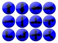 Shinny Blue Arrow Buttons Stock Photo