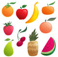 Shinny cartoon orange apple banana pear watermelon strawberry pineapple cherries peach and tangerine Royalty Free Stock Photo