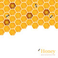 Shiny amber honey comb and bees background design. Vector natura