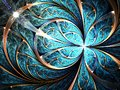 Shiny blue fractal flower or butterfly