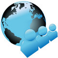 Shiny Blue World People Symbol Icons with Globe Royalty Free Stock Photos
