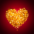Shiny blurred gold heart colored lights in the form of on the red gradient background valentines day or wedding card Royalty Free Stock Images