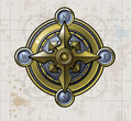 Shiny brass compass textured old map background Stock Photo