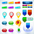 Shiny button and web labels vector Royalty Free Stock Photo