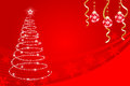 Shiny christmas tree eps this illustration contains transparency effect in red background Royalty Free Stock Photos