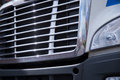 Shiny chrome grille of large semi truck Royalty Free Stock Photo