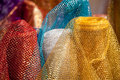 Shiny colorful oriental silky textile. Royalty Free Stock Photos
