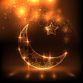Shiny decorative moon on brown background for muslim community festival eid mubarak Stock Image