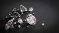 Shiny diamonds on black background Royalty Free Stock Photo