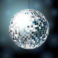 Shiny disco ball on dark blue background eps Royalty Free Stock Photography