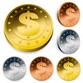 Shiny dollar currency token coins Royalty Free Stock Image