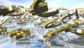 Shiny dollar, euro, pound and yen money signs falling down. 3D rendering Royalty Free Stock Photo