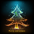 Shiny floral Xmas Tree for Merry Christmas. Royalty Free Stock Photo