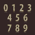 Shiny font of gold and diamond vector illustration. Luxury number set