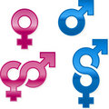 Shiny gender symbols Royalty Free Stock Images