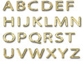 Shiny gold alphabet capital letters isolated Stock Image