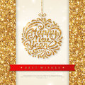 Shiny Gold Greeting Card with Christmas Bauble Royalty Free Stock Photo