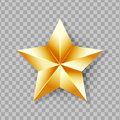Shiny Gold Star isolated on transparent background.