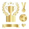 Shiny gold trophy cup, medal, laurel, award set, isolated s Royalty Free Stock Photo