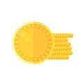 Shiny golden coins icon in flat style design. Irish St. Patrick