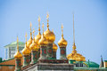 Shiny golden domes of the Upper savior Cathedral Royalty Free Stock Photo