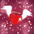 Shiny heart with angel wings valentine red white background Royalty Free Stock Image