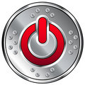 Shiny industrial vector button with power icon Royalty Free Stock Photo