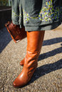 Shiny leather boots Stock Image