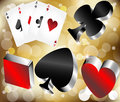 Shiny metallic glossy symbols of playing cards Royalty Free Stock Images