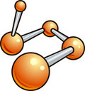 Shiny molecule illustration icon Stock Image