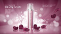Shiny pink background with moisturizing cosmetic premium products