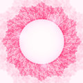 Shiny pink blossom lotus flower frame round label background Stock Photos