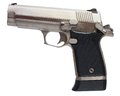 Shiny pistol handgun that has a polished stainless steel finish Stock Photos