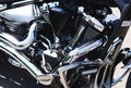 Shiny power chrome motorcycle engine block Royalty Free Stock Photo
