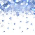 Shiny rain of pastel blue stars