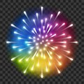 Shiny rainbow firework on transparent background Royalty Free Stock Photo