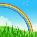 Shiny rainbow meadow landscape. Stock Photography