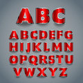 Shiny red font. alphabet design. Royalty Free Stock Photo
