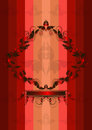 Shiny red frame in bright multicolored striped background Royalty Free Stock Images
