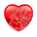 Shiny red heart with decor glossy ornate decorative element on white background Stock Images