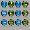 Shiny Round Text Messaging Symbol Buttons Stock Images