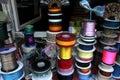 Shiny satin ribbons at traditional notions store Royalty Free Stock Photo